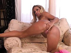 Cherie DeVille with big melons and bald snatch cant stop dildoing her cunt