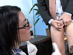 Stunning office babe Juelz Ventura is talking to her client and suddenly she started to fuck with a big black dong, while he is watching to make him jealous.