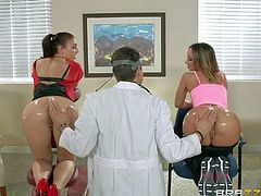 Jada Stevens and Mischa Brooks are two sexy ladies with perfect round asses. They show their bare oiled up bottom to Doctor Xander Corvus. He explores their butts and then they suck his dick with their amazing asses up.