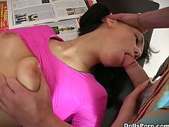 Raven haired slim girlie gets hardcore doggy way loped on office table