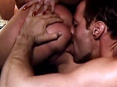 Seductive hookers get ass fucked brutally in hardcore FFM threesome scene