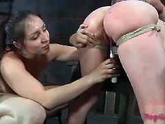 Elise Graves loves getting her tight pussy fingered hard by bust mitress Sister Dee in this hot bdsm video.See how this babe uses her big toys and makes her tight pussy squrit  right aftr she fucked her by a big strap-on dildo.