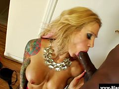 Sarah Jessie is seduced by hot black stud in this hot interracial scene. Babe is wearing hot lingerie, he licks her pussy, she swallows his big black cock and then takes it hard and deep in her pussy.
