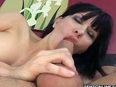 Her pussy is decorated with nice piercing and she prefers to swallow dick deeper. So. this babe is everything you need for this ones.Enjoy this huge tits milf getting fucked hard on the couch.