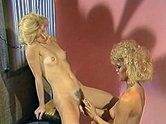 Watch this horny and kinky blonde babe licking her girlfriend's nice and clean tight pussy in her bedroom in The Classic Porn sex clips.