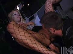 Hot blonde Jessica Drake wearing fishnet pantyhose gives a blowjob to her man and lets him explore her snatch. Then they bang doggy style and in missionary position and enjoy it much.