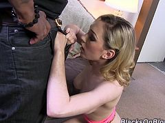 This white girl takes it like a champ and cums hard when she gets bent over and fucked in the ass by a massive, black cock.
