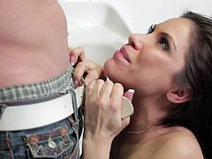 Share this with your friends! A guy needs to take a sperm test and he fucks hard a brunette, with a nice ass wearing sexy lingerie, to do a cumshot!