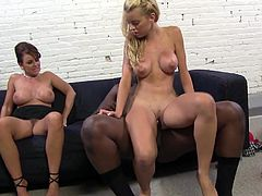 Blonde teen and brunette MILF has fun with big cocked dude. They give him a handjob and a blowjob. After that the guy starts to push his big black cock in wet pussies.