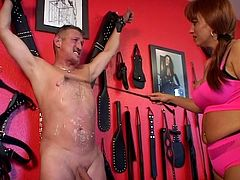 Older couple plays with hot wax before the girl whips her boyfriends cock!