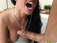 Piercings Kerry Louise gets her mouth attacked by dudes meaty throbbing dick