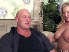 Three busty cougars decide to share a big hard cock in this hot group sex video. Cum inside and watch as this lucky stud bangs all of them and gets his cock sucked deep.
