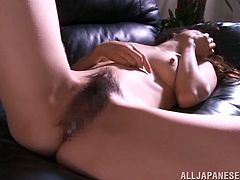 Beautiful Japanese girl is playing dirty games with some guy in the presence of his buddy. She gives a deepthroat blowjob to the stud and then leans against the table and gets her vag pounded from behind.