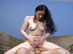 Caroline Pierce is a hot brunette with an amazing ass. Check out this hardcore scene where she takes a ride on this guy's hard cock until he cums all over he cheeks.