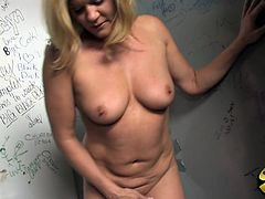 This astonishing cougar is insatiable hoe who loves to fuck with strangers. She is sucking unknown guy in toilet and then ramming hardhis stiff cock.