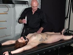 Learner bondman Louise inside dungeon rack bound and Dirty wax knocker punishments of Overweight pri