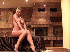 Hot solo scene with the sexy blonde Silvia Saint