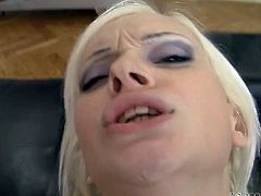 Light haired ratty looking harlot with small tits passionately lopes her thirsting eating hole with that tremendous schlong deep throat. Enjoy this hot blowjob in Fame Digital porn clip!
