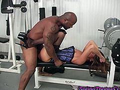 She went to gym and found that horny stiff dude and used him to satisfy her starving cunt. Enjoy watching this interracial hardcore sex.