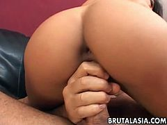 Jayna Oso is an Asian babe with a petite body. She gets both her cunt and ass holes pumped by two horny guys who don't go easy on her. They only stop for blowjobs.