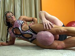 Muscular Blonde Wrestles wimp!