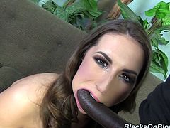 Delightful brown-haired girl gives a pleasurable blowjob in an interracial sex scene. Then Paige opens sexy legs and gets her incredible pussy licked. Probably any guy or girl would be happy to licks that pussy.