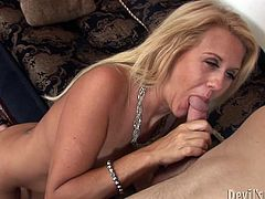 Old blond haired bombshell sucks big fresh cock of her young fuck guy