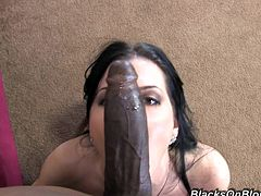 What a luxury Latina chick Rebecca Linares is! She is wearing a sexy lingerie and moving so slowly on a huge black cock!