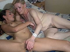 They lie on the bed and touch each others. Then they start to masturbate each others pussies. Watch this lesbian petting in Old Nanny xxx video!