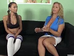 Georgia Cream returns home after her workout. Her slutty step-mom, Amber, decides to give her innocent step-daughter a cock handling lesson and this one surely will make the cut.