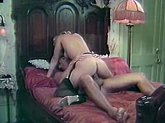 Watch this large cock being rode by wet and tight pussy of white kinky chick in the bedroom in The Classic Porn sex clips.