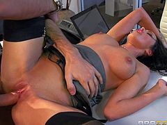 Breanne Benson is a professional secretary who makes angry client Keiran Lee happy with ease. Beautiful leggy brunette in black nylons bares her big juicy boobs and spreads her legs. He loves her breasts and her tight fuckable pussy.