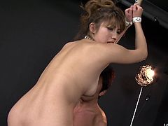 Kinky brunette slut with flat tits and hairy pussy is looking cheesy wearing fishnet stockings. Trashy hoe gets her hands tied up and her bearded clam toy fucked intensively.