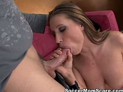 Burning hot and curvy brunette bitch Devon Lee lies on couch while lucky boy polishes her sweet puffy cunt with his tongue. Guy eats her tasty butthole in doggy pose before Devon rides his face.