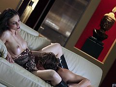 Tyler Nixon is having fun with sizzling brunette Tiffany Tyler. Tiffany gives a passionate blowjob to the dude and then they bang in the reverse cowgirl position.