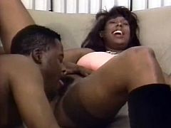 Kinky black hooker sucks hard black dick deepthroat. She then gets her clam polished by thirsty dude. He then screws her bad missionary style.