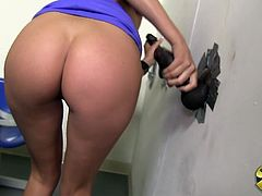Check this blonde doll, with titanic gazongas and long legs, while she has interracial sex with a big black cock from a gloryhole.