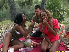 Tori Taylor and her awesome GF show their big natural boobs to some guy and give him a blowjob. Then they get their black cunts fucked and enjoy it much.