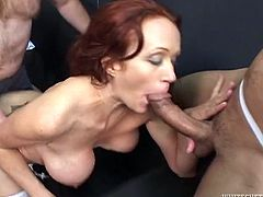 Some nasty slut sucks on different hard cocks from a bunch of fuckers and then takes their cumshots in her fuckin' face. Check it out!