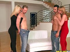 Witness these group sex where two blonde cougars, with nice asses wearing sexy outfits, get badly screwed by two arouse dudes in a reality clip.