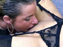 One lesbian gets her pussy licked by brunette girlfriend. She moans pleasingly while she eats her shaved snatch. Enjoy watching two brunette babes in hot homemade lesbian sex video.