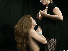 Mature Katy Parker with giant knockers makes her sex fantasies a come true with lesbian Alice King