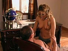 What a desirable and sizzling blond boss Inari Vachs is! She takes a cock in her mouth and he makes her tits shake, pounding her hot pussy! Facial and some in mouth!