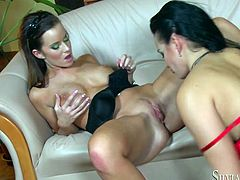 A couple of horny as fuck lesbian bitches with dripping wet pussies all over each other in this exhilarating lesbian scene where they sex each other up like fuckin' crazy! Check it out!