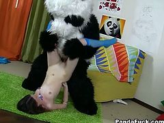 Black haired fuck starving harlot with sweet flexible boobs invited one freaky fellow which dressed in Panda and hammered her fresh vag pile driver way.Look at this kinky gal in WTF ass porn video!