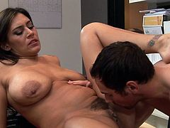 Busty beauty opens her legs to have a great fuck along her needy boss