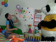 Long and black haired hottie with small Tatas put big strapon on giant toy creature and set to ride it in cowgirl position. Watch this horny chick in WTF Pass sex video!