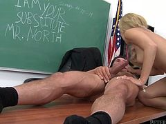 Beautiful blonde student got seduced by her teacher. He bent her over the table and fucked doggy style. Then she got on top of hard shaft bouncing intensively. In the end of the session sexy blondie gets her face glazed in jizz.