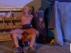 Gorgeous blonde MILF plays poker in an underground casino. She also has sex with some handsome guy. They go outside. So, Stormy gives a blowjob to the guy and gets fucked in her wet pussy.