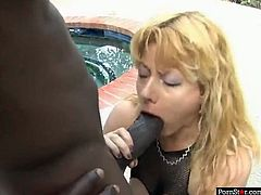 Hot blooded African freak pokes dirty eating hole of that zealous blond head salacious hussy and after that bangs her stinky vag from behind. Lookn at this hot interracial drilling in Pornstar sex video!